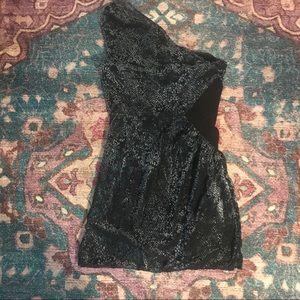 Silence + Noise one shoulder print velvet dress